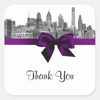Philadelphia Skyline Etch BW Purple Favor Tag #2 Sticker