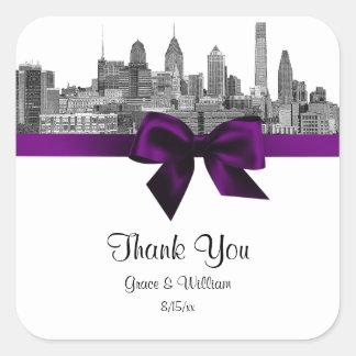 Philadelphia Skyline Etch BW Purple Favor Tag Square Sticker