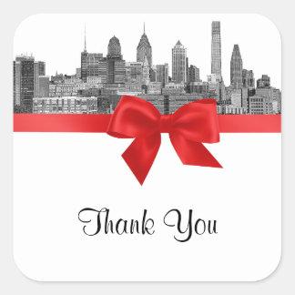 Philadelphia Skyline Etch BW Red Favor Tag #2 Square Sticker