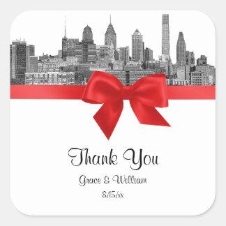 Philadelphia Skyline Etch BW Red Favor Tag Square Sticker
