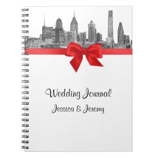 Philadelphia Skyline Etch BW Red Planner Journal Spiral Note Books
