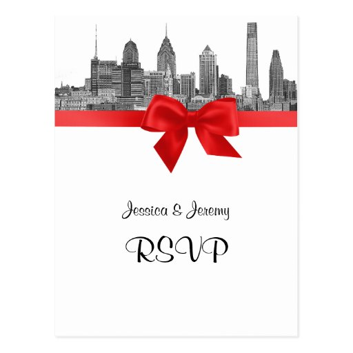 Philadelphia Skyline Etch BW Red RSVP 1 Postcard