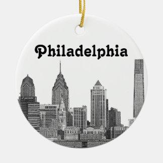 Philadelphia Skyline Etched Christmas Ornament