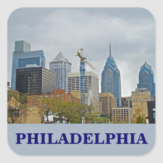 Philadelphia Skyline from the River Walk Square Sticker