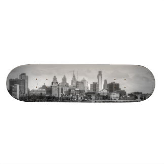 Philadelphia skyline in black and white 21.3 cm mini skateboard deck