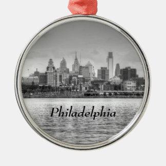 Philadelphia skyline in black and white christmas ornament