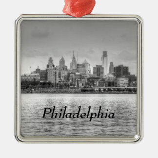 Philadelphia skyline in black and white christmas ornament