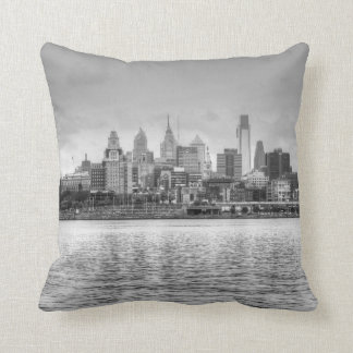 Philadelphia skyline in black and white cushion