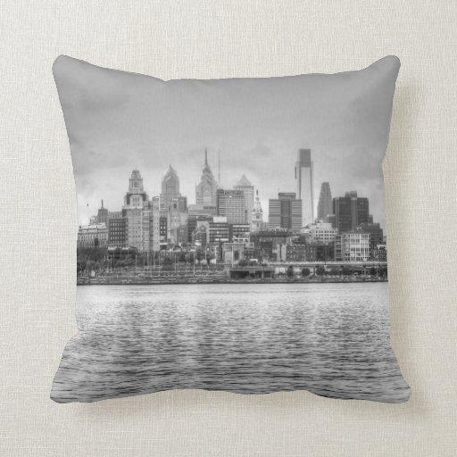 Philadelphia skyline in black and white throw pillow