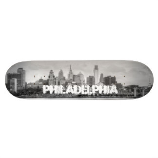 Philadelphia skyline in black and white custom skate board