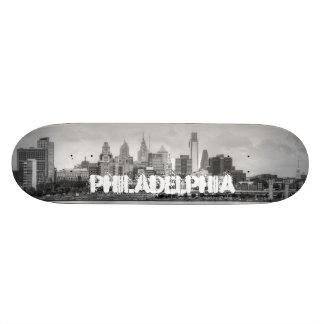 Philadelphia skyline in black and white custom skateboard