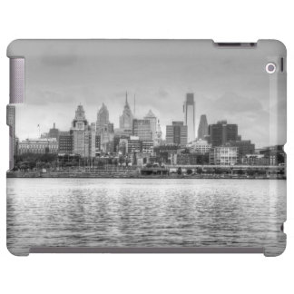 Philadelphia skyline in black and white iPad case