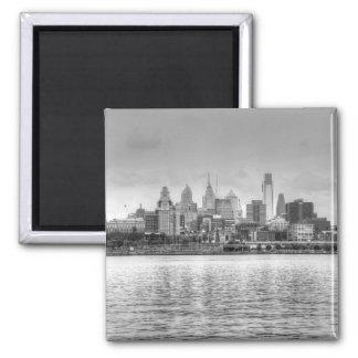 Philadelphia skyline in black and white magnet