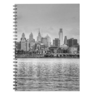 Philadelphia skyline in black and white notebook