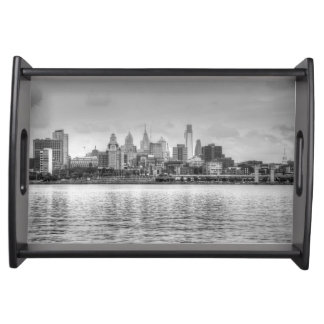 Philadelphia skyline in black and white serving tray
