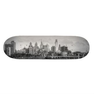 Philadelphia skyline in black and white skate board decks