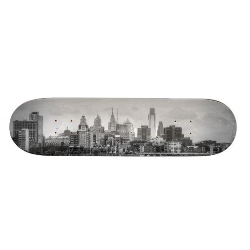 Philadelphia skyline in black and white skate boards