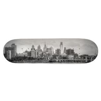 Philadelphia skyline in black and white skateboard