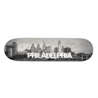 Philadelphia skyline in black and white skate board deck