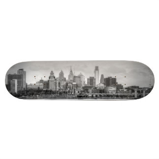 Philadelphia skyline in black and white skateboard deck