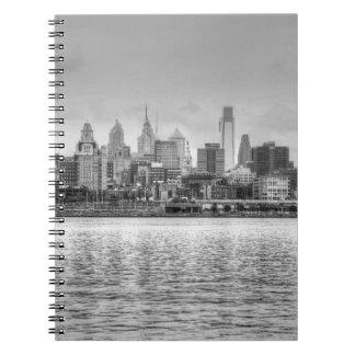 Philadelphia skyline in black and white spiral note book