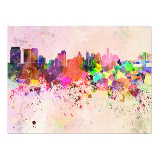 Philadelphia skyline in watercolor background photo print