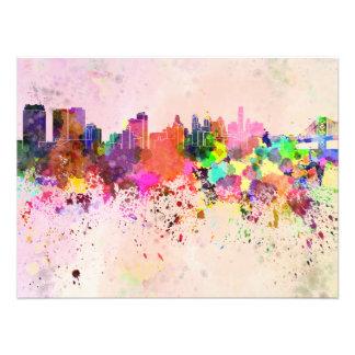 Philadelphia skyline in watercolor background photo print