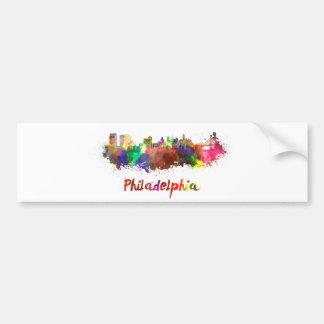 Philadelphia skyline in watercolor etiqueta de parachoque