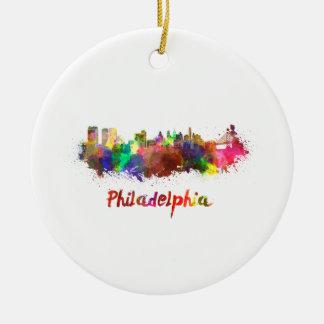 Philadelphia skyline in watercolor christmas ornament