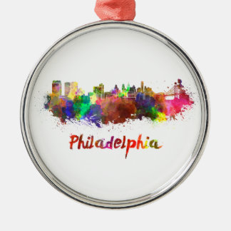 Philadelphia skyline in watercolor christmas ornament