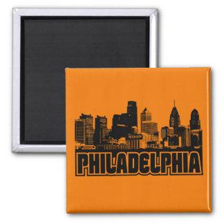 Philadelphia Skyline Square Magnet