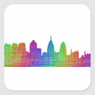 Philadelphia skyline square sticker