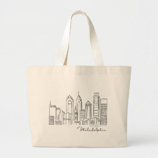 Philadelphia Skyline Tote Bag - Jumbo/Large Size