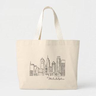 Philadelphia Skyline Tote Bag - Jumbo/Large Size