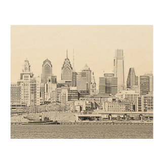 Philadelphia Skyline Wood Canvas