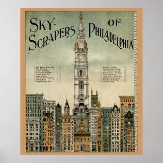 Philadelphia Skyscrapers (1898 Vintage Poster) Poster