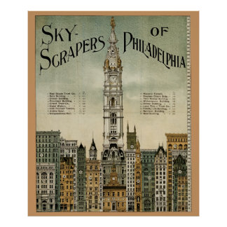 Philadelphia Skyscrapers (1898 Vintage Poster) Poster