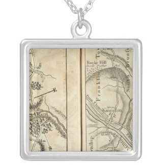 Philadelphia to New York Road Map 2 Silver Plated Necklace