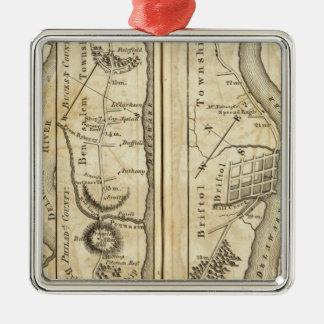 Philadelphia to New York Road Map Christmas Ornament