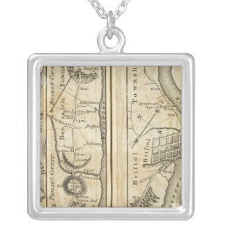 Philadelphia to New York Road Map Silver Plated Necklace