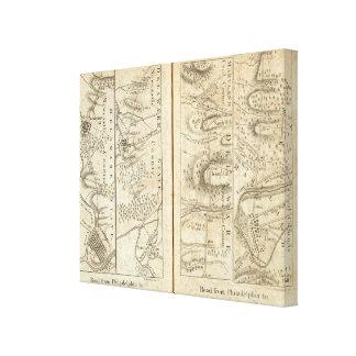 Philadelphia to Washington Road Map 2 Canvas Print