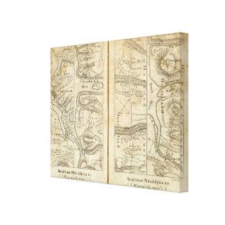 Philadelphia to Washington Road Map 3 Canvas Print