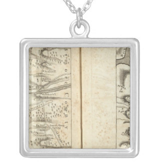 Philadelphia to Washington Road Map 3 Silver Plated Necklace