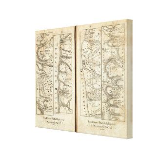 Philadelphia to Washington Road Map Canvas Print