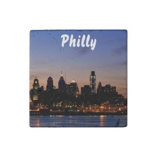 Philadelphia Twilight Skyline Stone Magnet