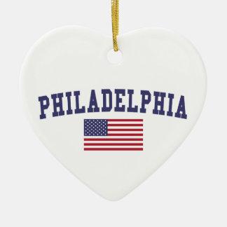 Philadelphia US Flag Christmas Ornament
