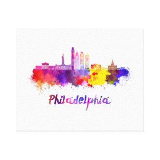 Philadelphia V2 skyline in watercolor Canvas Print