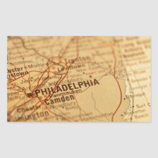 Philadelphia Vintage Map Rectangular Sticker