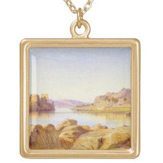 Philae, Egypt, 1863 (oil on canvas) Square Pendant Necklace