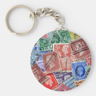 Philately vintage uk stamps basic round button key ring